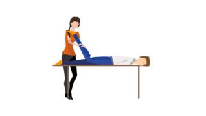 dag van de fysiotherapeut- fysiotherapeut op locatie